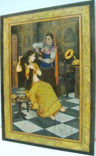 Indian Ladies Figures Portrait Handmade 16x12 Beautiful Canvas Oil Painting Art