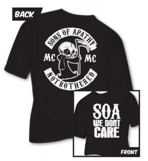Sons of Apathy T Shirt SOA SAMCRO Reaper Anarchy PARODY Funny Biker 4XL 5XL