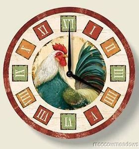 New Rooster Wall Clock French Country Kitchen Decor Art Green Blue Burgundy Folk