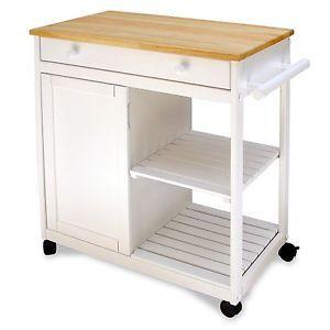 White Kitchen Island Storage Cart Wood Top Drawer Cabinet Furniture New