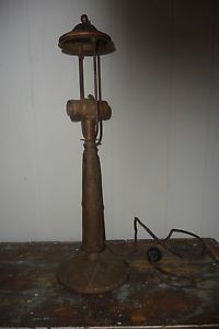Antique 1920's Bronzed Cast Iron Lamp Base for Slag Glass Reverse Painted Shade