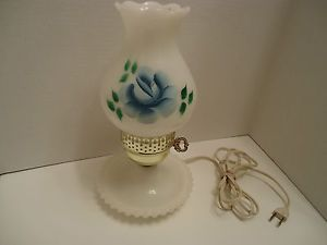 Hobnail Milk Glass Hurricane Lamp
