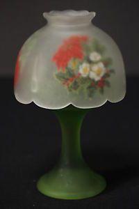 Westmoreland Poinsettia Fairy Lamp Satin Glass Reverse Painted Shade Green Base