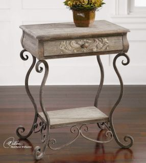 Accent Side End Table Night Stand Storage Metal Solid Wood