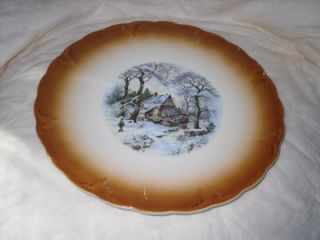 Antique 1800s Petrus Regout Co Maastricht Made in Holland Winter Landscape Plate