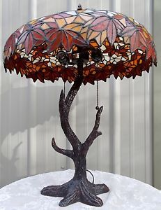 Tiffany Style Stained Glass Rustic Tree Lamp Fall Leaf Shade Tree Trunk Base