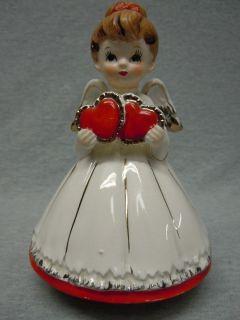 Vintage Lefton Valentine Double Heart Musical Angel Figurine B296