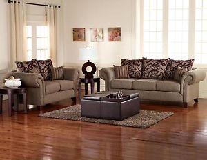 Coaster Furniture Auburn Brown Marble Sofa Loveseat Living Room Set 510041