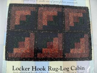"Quilt Mates Locker Hook Rug Log Cabin Kit Unused Unopened NIP New 22"" x 31"""