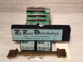 3 HO NP Brass Log Flat Car Kits with Bettendorf Freight Trucks in Original Boxes