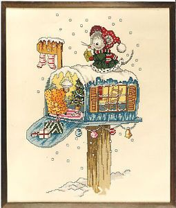 Cross Stitch Pattern Christmas Mouse Hanging Her Stocking on Her Mailbox House