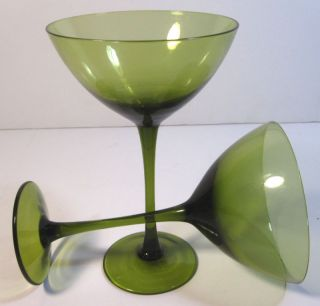 Vintage Martini Glasses Tall Stem Wine Glasses Pair Green Depression Glass