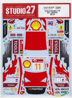 STUDIO27 1 24 Citroen C4 WRC 11 Japan 2010 Decals for Heller Kit DC919