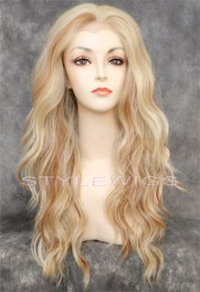 Long Wavy Lace Front Heat OK Pale Strawberry Blonde Mix Wig Sayv 613 27