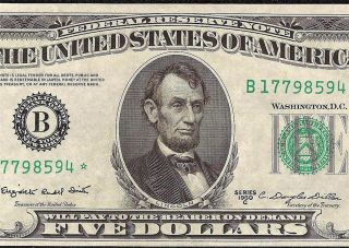 1950 C $5 Dollar Bill Star Currency Federal Reserve Note Fr 1964 B Uncirculated