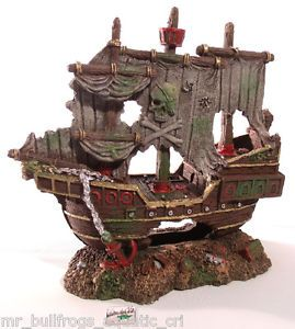 Sunken Pirate SHIP Wreck 1520 Aquarium Ornament Fish Tank Decoration