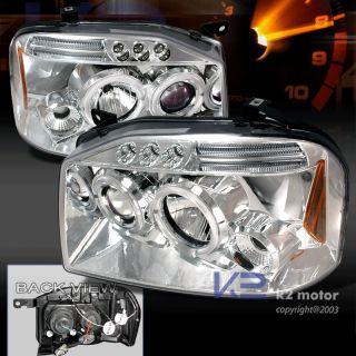2001 2004 Nissan Frontier LED Halo Projector Headlights Chrome Set