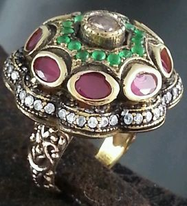 Ottomans Harem Al Sultan Ring Turkish Handmade Antique Jewelry Ruby Emerald 7 5