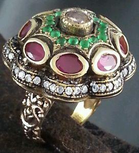 Ottomans Harem Al Sultan Ring Turkish Handmade Antique Jewelry Ruby Emerald 7 5
