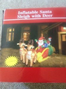Inflatable Santa Sleigh with Deer Over 8 Feet Long Christmas Yard Decoration