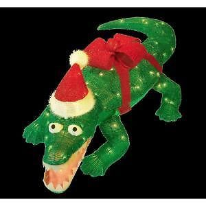 "42"" Lighted Tinsel Animated Alligator Outdoor Christmas Yard Decor Prop New"