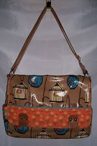 Fossil Key per Bird Cage Coated Canvas Messenger Crossbody Tote Bag