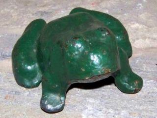 Old Antique Cast Iron Frog Door Stop Paper Weight 5 lbs Vintage Green Paint
