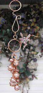 "Fairy Glass Wind Chimes Copper Garden Outdoor Lawn Yard Pond Decor Art Pink 10"""