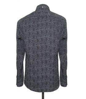 Mens Retro Black Paisley Tailored Shirt Long Sleeve New