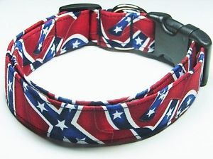 Charming Confederate Rebel Civil War Flag Dog Collar Large