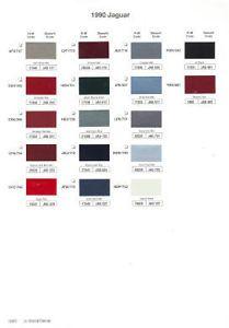1990 Jaguar Paint Color Sample Chips Card Colors