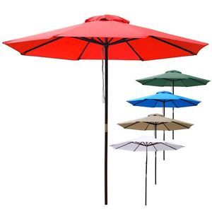 9ft Outdoor Patio Umbrella Wooden Pole Garden Beach Pool Cafe Multi Color Option