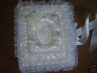 Wedding Photo Album Satin w Lace Trim Handmade White