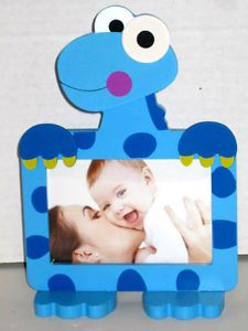 "Standing Blue Dinosaur Shape Picture Frame Wood Kids Room Holds 5""x3"" Photo New"