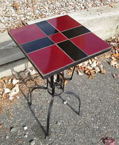 Vintage 30 S California Tile Top Plant Stand Wrought Iron Base Red Balck