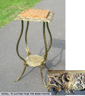 Victorian Brass Marble Top Plant Stand Cherub Faces
