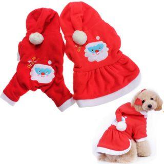 Merry Christmas Santa Warm Fleece Pet Dog Clothes Hoodie Jumpsuit Coat Apparel
