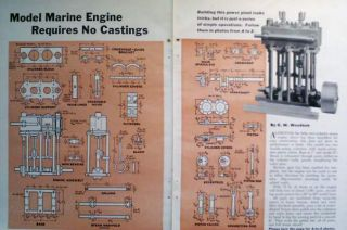 How to Build Model Boat Marine Steam Engine w 75 lbs of Steam 1100rpm 1953 Plans