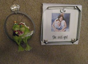 She Said Yes Wedding Photo Picture Frame Engagement Frog Diamond Ring Ornament