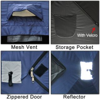 Dark Blue Portable Ice Fishing Shelter 2 3 4 Man Person Fish Shanty House Tent