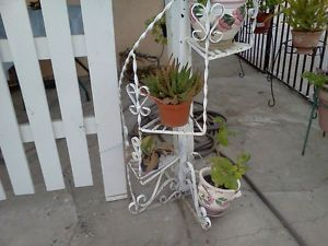 ... Vintage Eames Era Twisted Wrought Iron Spiral Plant Stand Staircase  Style 4 Tier ...