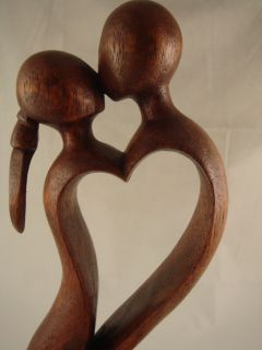 """12"""" Bali Carved Abstract Wood Statue Endless Love Art"""