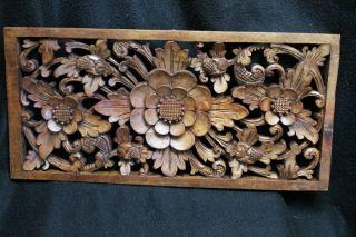 Balinese Lotus Architectural Panel Carved Mahogany Wood Floral Bali Wall Art