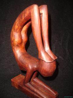 Bali Yoga Yogi Abstract Sculpture Statue Hand Carved Wood Balinese Art