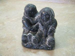 A Wolf Original Sculpture Canada Indian Statue Soapstone Eskimo Inuit Figurine