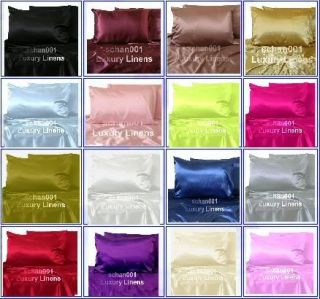 4pcs New Soft Queen Hot Pink Silk Y Satin Bed Sheet Pillowcases Set Deep Pocket