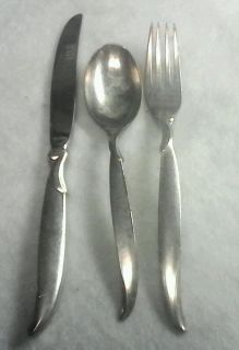 """3 Piece 1847 Rogers Bros Silverware """"Flair"""" Place Setting Spoon Knife Fork"""