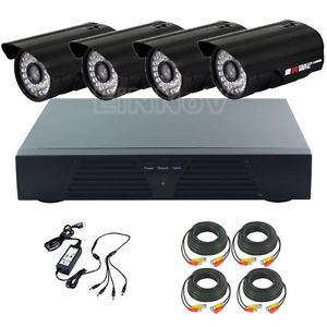 4 CH CCTV DVR Kit Home Video Security System with 4pcs 800TVL Waterproof Cameras
