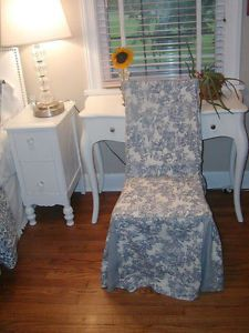 1 Waverly Garden Room Lapis Blue Toile Fabric Dining Parson Chair Slipcover