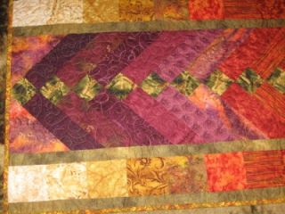 Handmade Quilted Table Runner Extra Long Sunflower Fall Colors Thanksgiving 8 Ft